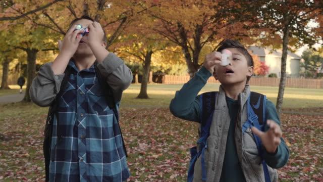 人気の回転おもちゃで遊ぶ 2 人の若い兄弟 - 自閉症点の映像素材/bロール