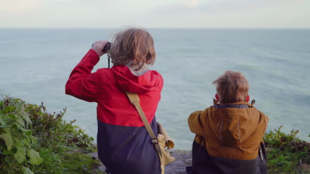 two young brothers resting at a viewpoint looking out to sea - binoculars stock videos & royalty-free footage