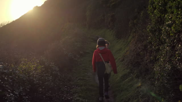 two young brothers walking up a steep coastal path - adventure stock videos & royalty-free footage