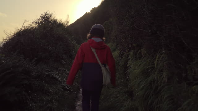 two young brothers walking up a steep coastal path - cappotto invernale video stock e b–roll