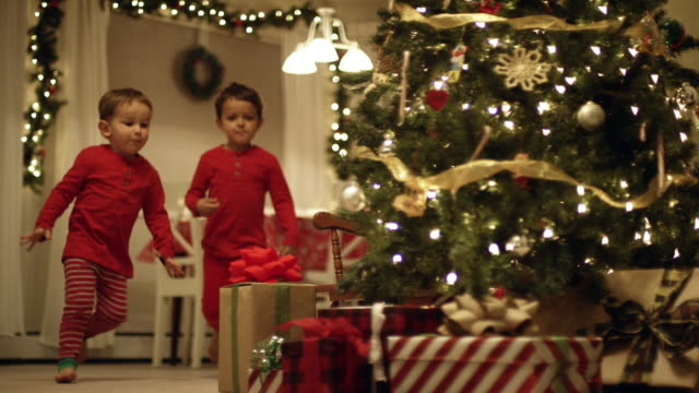 two young (three and five year-old) caucasian boys in pajamas run to the christmas tree and excitedly pick up christmas presents from underneath the christmas tree on christmas day - christmas lights stock videos & royalty-free footage