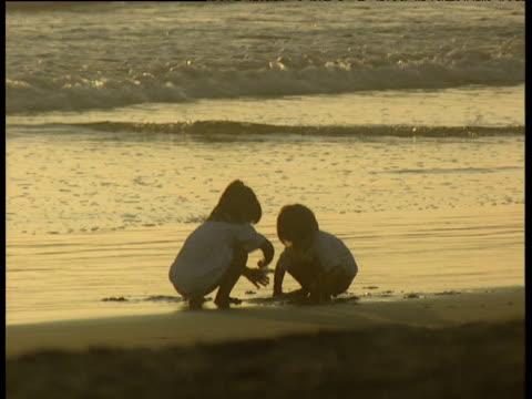 two young children play in sand silhouetted against sunset on venice beach. shallow waves lap gently in background - sharing stock videos & royalty-free footage