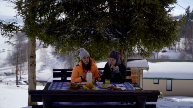 two young friendship have a breakfast in amazing winter landscape-winter vacation concept - raw food diet stock videos & royalty-free footage