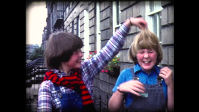 1980 two young girls make faces - home movie stock videos & royalty-free footage
