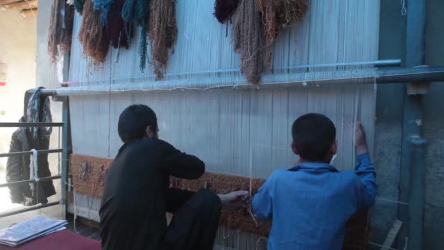 two young male workers weave a carpet on a loom in their family home in kabul afghanistan a worker adjusts an edge as another weaves a carpet in... - loom stock videos & royalty-free footage