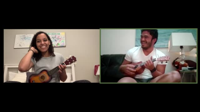 vídeos y material grabado en eventos de stock de two young musicans remotely play the ukulele together via video call. - novios