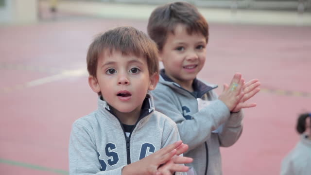 two young students wash their hands with disinfecting gel at the playground of paraíso sagrados corazones madrid school on september 10, 2020 in... - self discipline stock videos & royalty-free footage