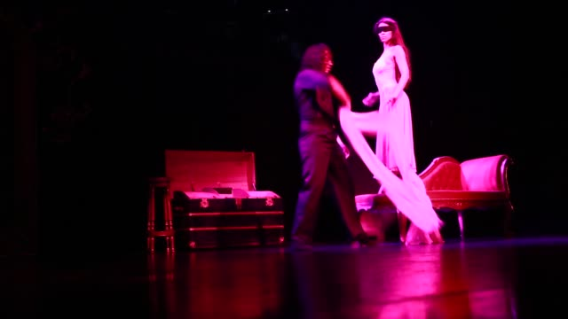 """two young tango dancers during the show """"tango porteno"""" in buenos aires, argentina, the eyes of the female dancers are covered with a masking tape. - ballroom dancing stock videos & royalty-free footage"""