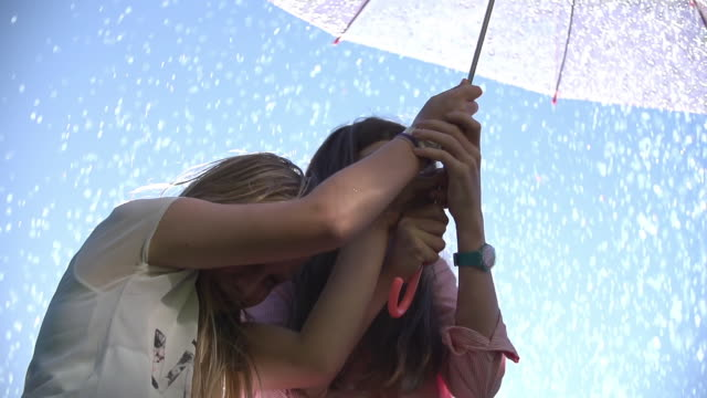 CU SLO MO LA Two young teenage girls laughing and sheltering under umbrella from summer raindrop shower / Auckland, New Zealand