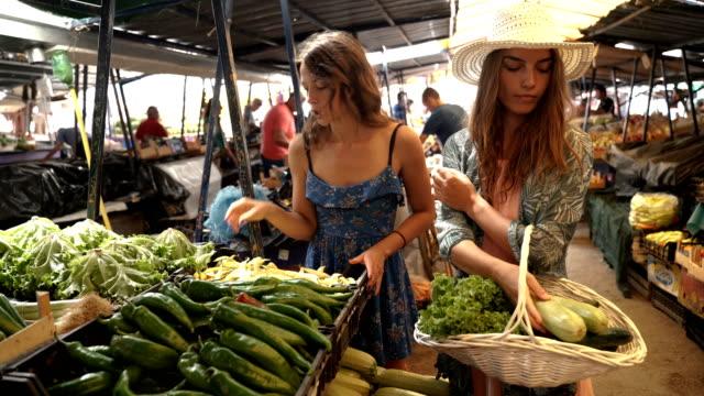 stockvideo's en b-roll-footage met twee jonge vegetarische meisjes winkelen vers fruit en groenten op lokale marktplaats - vakbond
