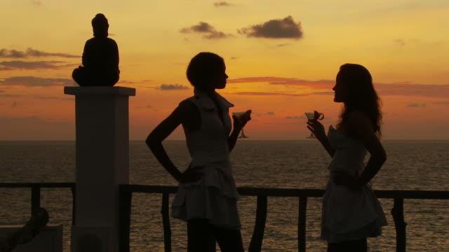 vídeos de stock e filmes b-roll de ws two young women drinking cocktails by sea at sunset  / seychelles - articulação humana
