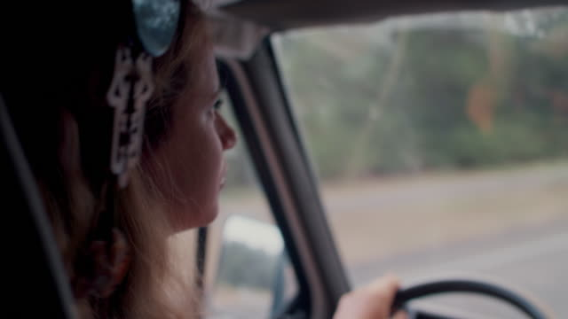 two young women driving in forest in south of france - lieferwagen stock-videos und b-roll-filmmaterial