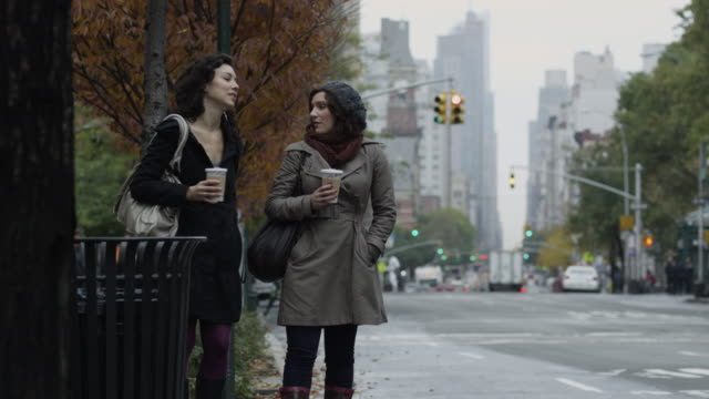 vidéos et rushes de ms two young women hailing and entering yellow cab / new york city, new york, usa - yellow taxi