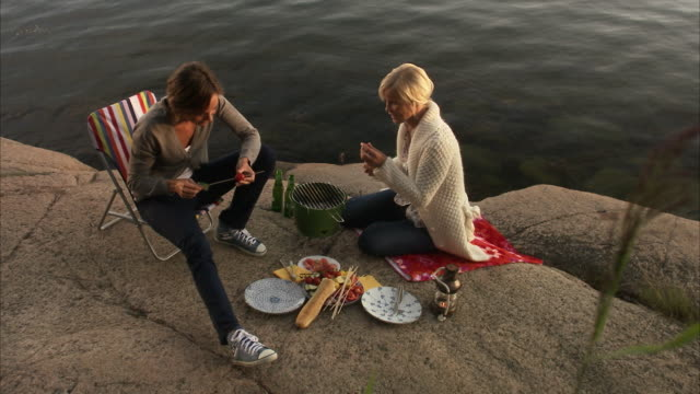 two young women having a barbecue blido stockholm archipelago sweden. - picknick stock-videos und b-roll-filmmaterial