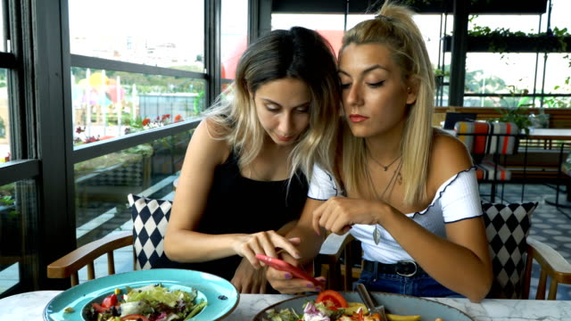 4k two young women making conversation in a cafe or  a restaurant. - sharing stock videos & royalty-free footage