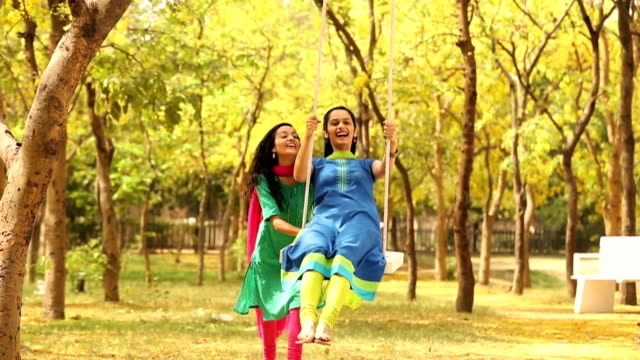 ms two young women playing swing in park / delhi, india - 屋外遊具点の映像素材/bロール