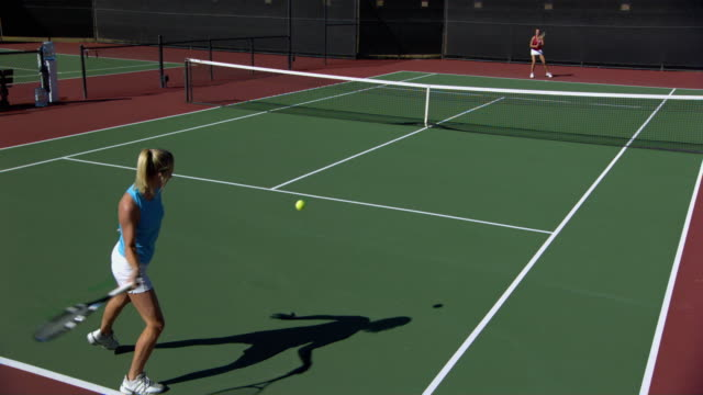 ws, cs, two young women playing tennis, santa barbara, california, usa - contestant stock videos & royalty-free footage