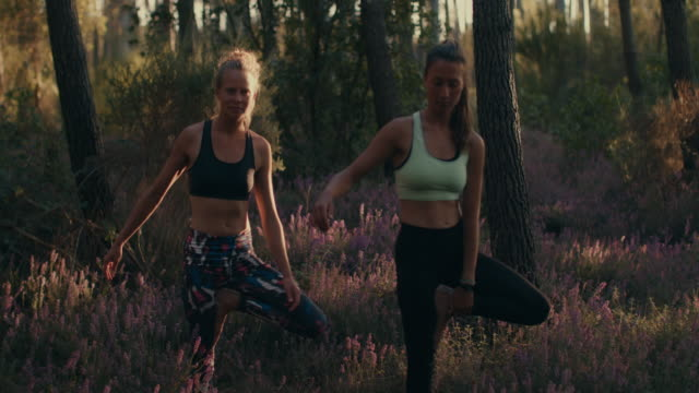 Two young women practicing yoga at sunrise in the forest in the South of France.