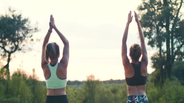 vídeos de stock, filmes e b-roll de two young women practicing yoga together at sunrise in the forest in the south of france. - mãos juntas
