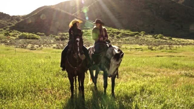 two young women riding their horses on the open range - cowgirl stock videos & royalty-free footage