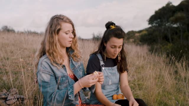 vídeos de stock e filmes b-roll de two young women sitting in field, eating picnic with fresh tangerines - fruta