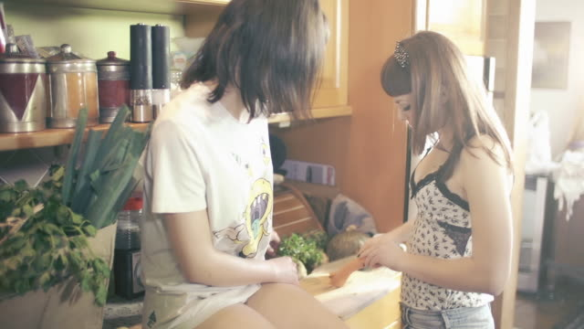 Two young women taking breakfast in kitchen