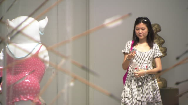 ms two young women taking photo inside art gallery, xin dong cheng space for contemporary art., beijing, beijing, china - 写真を撮る点の映像素材/bロール