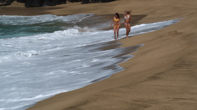 two young women walking on the beach - 14歳から15歳点の映像素材/bロール