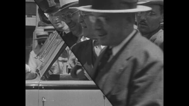 vídeos de stock e filmes b-roll de two-car motorcade with pres. franklin roosevelt riding in open top car onto drought-ravaged farmer's field / cows in pasture / horse in pasture /... - partido republicano americano