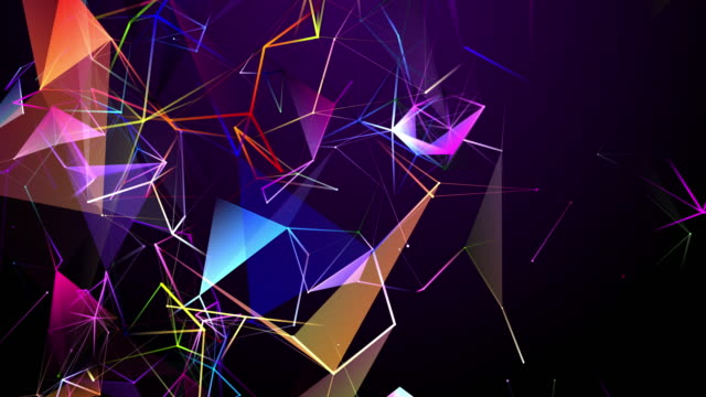 two-dimensional shape looping and changing colors in the form of interconnected lines - line art video stock e b–roll