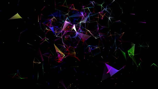vidéos et rushes de boucle de forme bidimensionnelle et couleurs changeantes sous la forme de lignes interconnectées - triangle forme bidimensionnelle