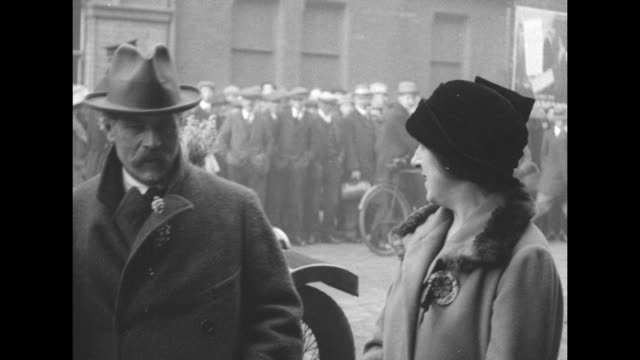 james ramsay macdonald newly named prime minister with his daughter ishbel macdonald / cu macdonald smiles tips his hat / note exact date not known - 1924 stock videos and b-roll footage