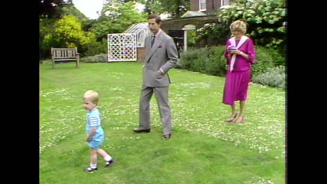 two-year-old prince william looks and points at the press cameras and microphones during a photocall at kensington palace gardens. - toddler stock videos & royalty-free footage