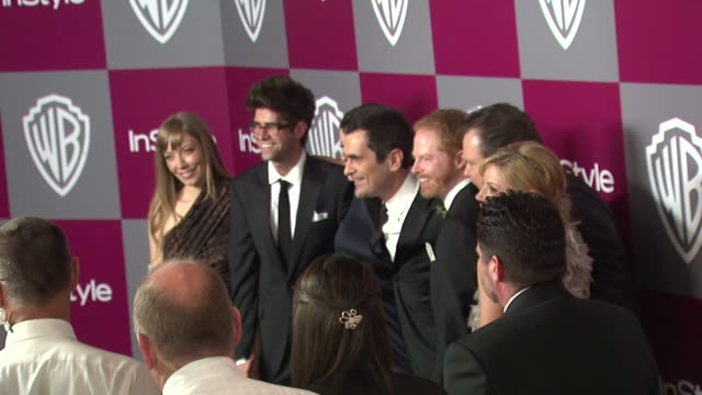 ty burrell jesse tyler ferguson eric stonestreet julie bowen at the 2011 instyle/warner brothers golden globe awards party at beverly hills ca - julie bowen stock videos and b-roll footage