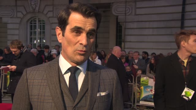 vídeos y material grabado en eventos de stock de interview ty burrell on bring the film to london getting the role his character at 'the muppets most wanted' vip gala screening at the curzon mayfair... - ty burrell