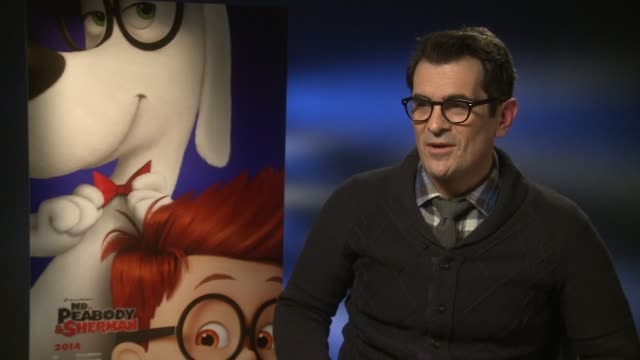 vídeos y material grabado en eventos de stock de interview ty burrell talks about working with ariel winter again at 'mr peabody sherman' interviews at on february 7 2014 in london england - ty burrell