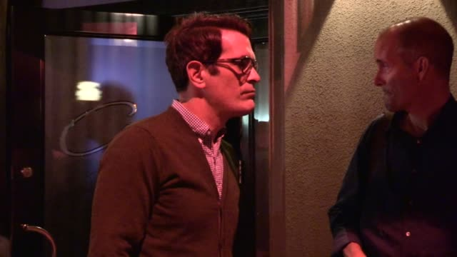 ty burrell with friends while departing craig's in los angeles 09/12/13 - ty burrell stock videos and b-roll footage