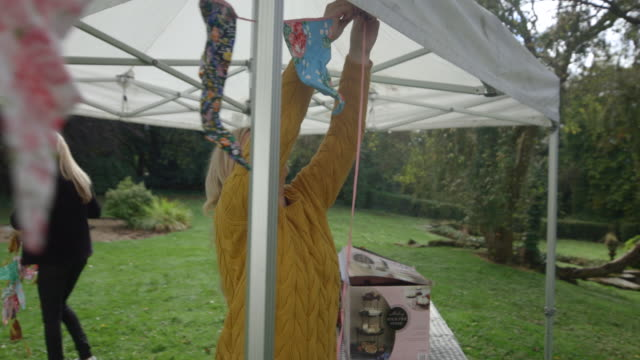 tying up the bunting - gala stock videos & royalty-free footage