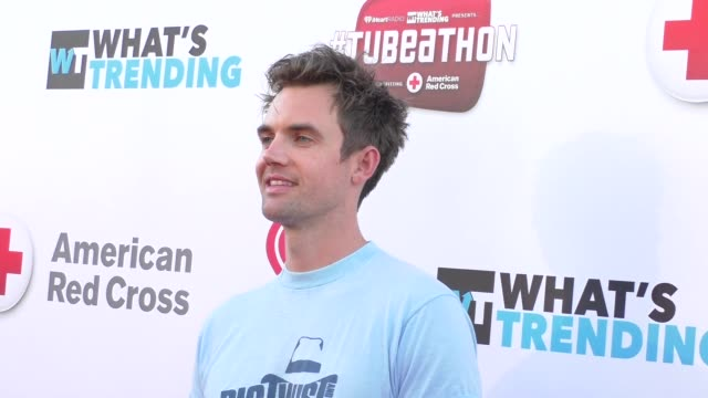 tyler hilton at the what's trending's fourth annual tubeathon benefitting american red cross at iheartradio theatre in burbank - celebrity sightings... - fourth occurrence stock videos & royalty-free footage