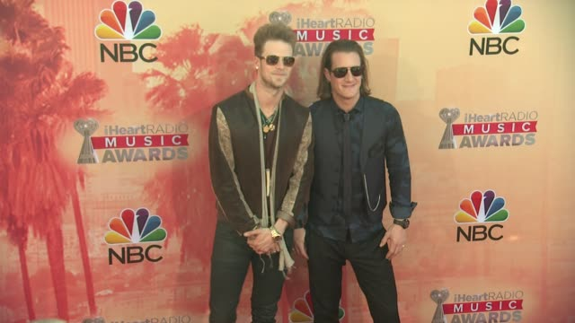 vídeos de stock, filmes e b-roll de tyler hubbard and brian kelley at the 2015 iheartradio music awards red carpet arrivals at the shrine auditorium on march 29 2015 in los angeles... - shrine auditorium