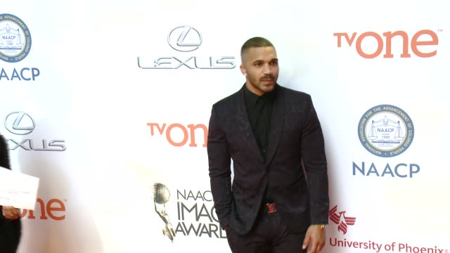 stockvideo's en b-roll-footage met tyler lepley at the 46th annual naacp image awards arrivals at pasadena civic auditorium on february 06 2015 in pasadena california - pasadena civic auditorium