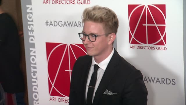 tyler oakley at the 19th annual art directors guild excellence in production design awards at the beverly hilton hotel on january 31, 2015 in beverly... - the beverly hilton hotel stock videos & royalty-free footage