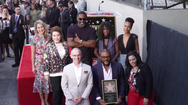 tyler perry kerry washington idris elba crystal r fox rana ghadban mitch o'farrell at the tyler perry honored with star on hollywood walk of fame in... - walk of fame stock videos & royalty-free footage