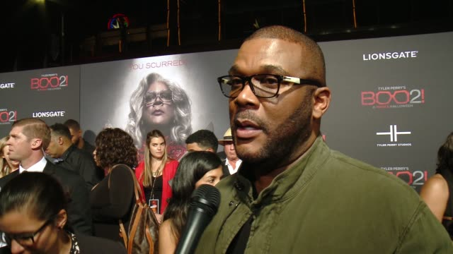 """INTERVIEW Tyler Perry on the premiere at Lionsgate Presents the Los Angeles Premiere of Tyler Perry's """"Boo 2 A Madea Halloween"""" in Los Angeles CA"""