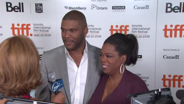 tyler perry , oprah winfrey at the 'precious: based on the novel 'push' by sapphire' premiere at toronto on. - precious gem stock videos & royalty-free footage