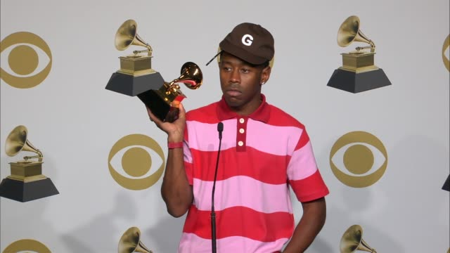 speech tyler the creator at the 62nd annual grammy awards press room at staples center on january 26 2020 in los angeles california - グラミー賞点の映像素材/bロール