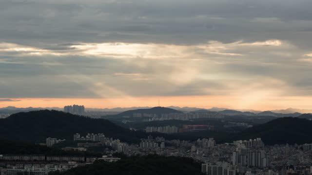 tyndall phenomenon in downtown around eunpyeong district and goyang city / seoul and gyeonggi-do, south korea - light natural phenomenon stock videos & royalty-free footage