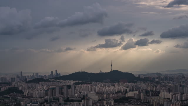tyndall phenomenon over n seoul tower area - light natural phenomenon stock videos & royalty-free footage