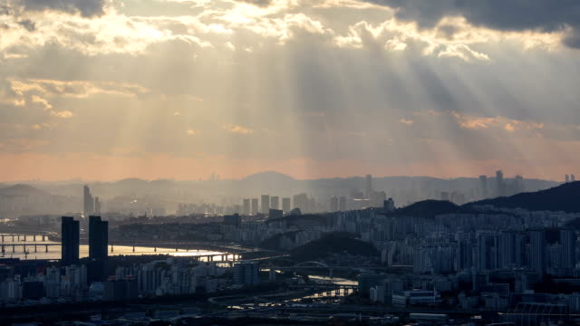tyndall phenomenon view of jungnangcheon and dongbu expressway, seoul - dramatic sky stock videos & royalty-free footage