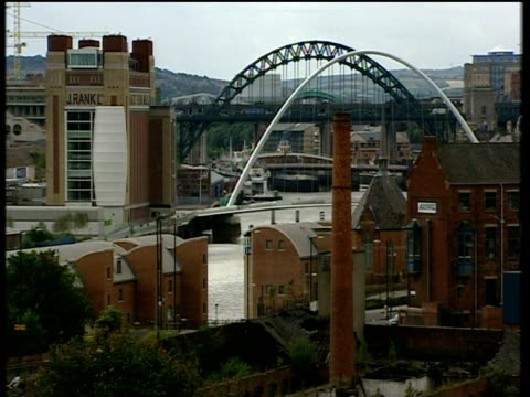 tyne bridge gateshead millennium bridge and baltic arts centre on river tyne newcastle - tyne bridge stock videos & royalty-free footage